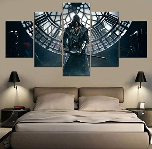 5-teilige Gemälde Wandkunst Leinwand Assassin'S Creed Syndicate Spiel Modernes Dekor Leinwandmalerei Hd Print Home Modern Wall Room(Frame size)