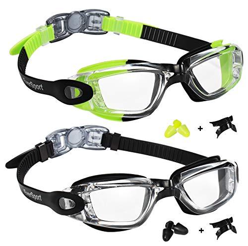 EverSport Swim Goggles, Pack of 2, Swimming Glasses for Adult Men Women Youth Teens Kids, Anti-Fog, UV Protection, Shatter-Proof, Watertight(Green/Black&Black)