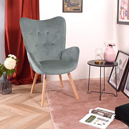 FURNISH 1 Sillón sillón con reposabrazos en Contraste, Patas de Madera de Haya, Estructura lacada en Negro, Relleno de Terciopelo y Botones - Verde (Terciopelo)