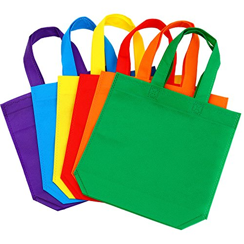 Aneco 24 Pack 9.5 by 9.5 Inches Non-Woven Tote Bags Party Goodie Treat Bag Bottom Gift Bag with Handles for Kids Birthday Party Favor, 6 Colors