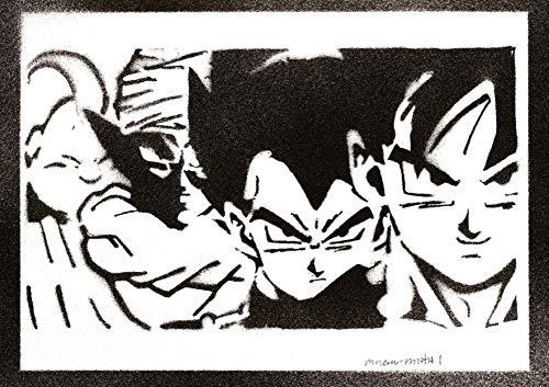 Póster Bola de Dragón Goku Vegeta Piccolo Monstruo Bu Grafiti Hecho a Mano - Handmade Street Art - Artwork