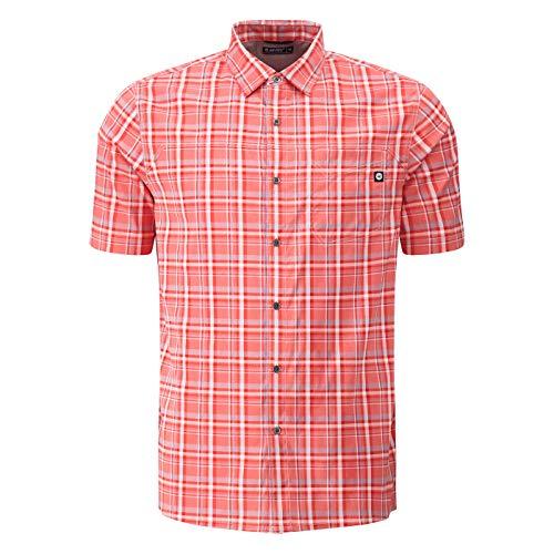 Hi-Tec Indisches Herren-Hemd mit Wasserkesselmuster, Stretch, groß, kariert, kurzärmelig - Mehrfarbig - X-Large
