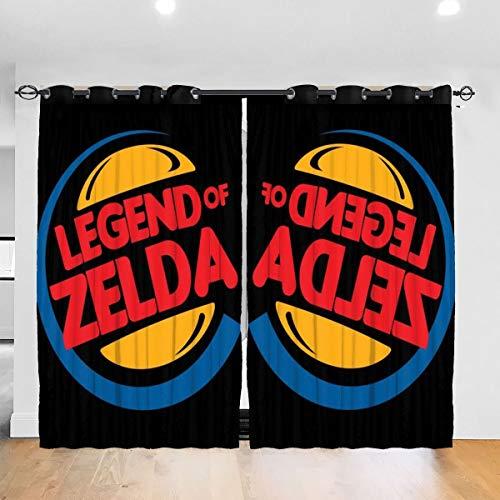 HONGYANW Vorhänge Legend of Zelda Burger King Mix Thermo-Isolierender Vorhang für Schlafzimmer, Wohnzimmer, 132,2 x 182,9 cm, 2 Paneele