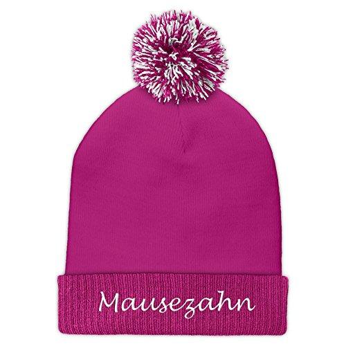 printplanet Pudelmütze mit Namen Mausezahn Bestickt - Farbe Rosa - personalisierte Mütze, Strickmütze, Namensstickerei, Bommelmütze
