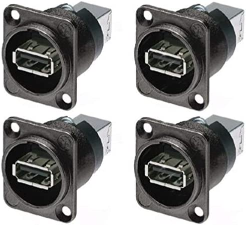 4 Pack Neutrik NAUSB W B Panel Mount Reversible USB Gender Changer Adapter product image