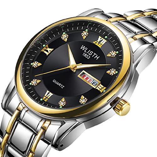 GDHJ Cinturón de Acero con Movimiento de Cuarzo para Hombre Relojes Retro Calendario Dual Juvenil Relojes Luminosos Impermeables Moda Casual Reloj de Pulsera de Acero ino Black 1