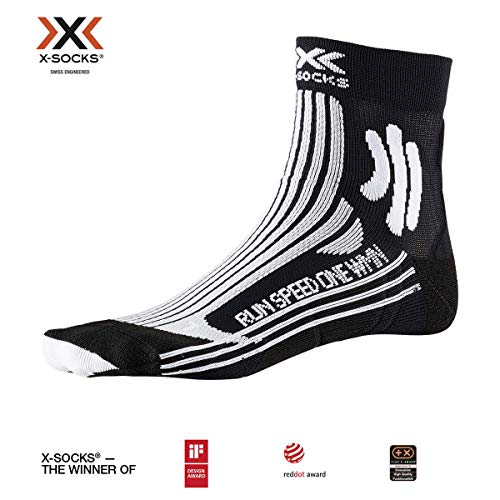 X-SOCKS Run Speed One Women Chaussette Femme, Opal Black/Arctic White, FR : L (Taille Fabricant : 39-40)