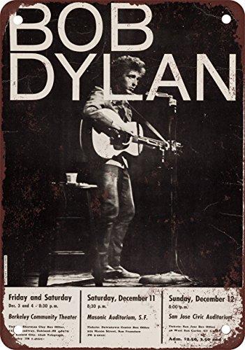 1965Bob Dylan en Berkeley, SF y San Jose Aspecto Vintage Reproducción Metal Tin Sign 8x 12Pulgadas