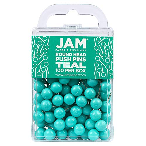JAM PAPER Colorful Push Pins - Round Head Map Thumb Tacks - Teal Pushpins - 100/Pack