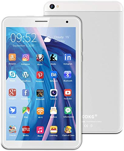 Tablet 8 Pollici, Android 10.0 Google Certificazione GMS 3GB RAM+32/128GB ROM, Tablet con Fotocamera da 5MP 1280 * 800 IPS, Quad-Core 1.6Ghz GPS, Bluetooth, Wi-Fi (Argento)