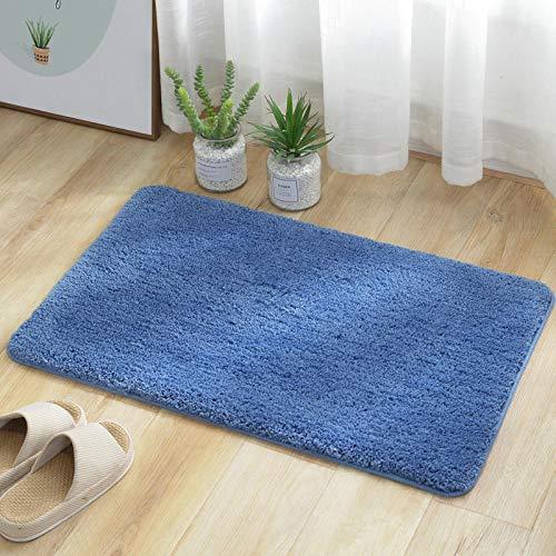 ZXCN Alfombra para Bañera Lavable A Máquina Pies Cómodos de Felpa Gruesa Alfombrillas para Bañera Microfibra 60×90cm Azul