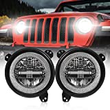 9 Inch Led Headlights [DOT Approved] Round Headlight with DRL High Beam and Low Beam Compatible with Jeep Wrangler JL 2018-2020 [Diamond Design]