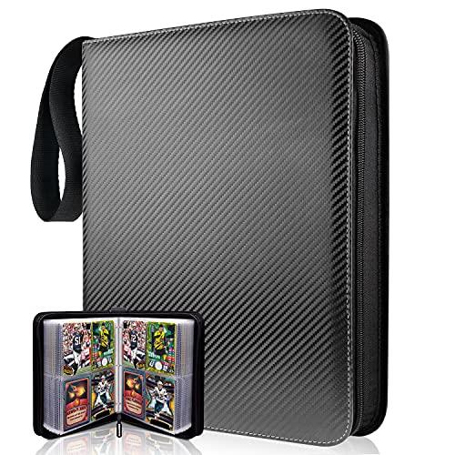 TONESPAC Premium 400 Pocket Sammelalbum , Sammelkartenalben, Buch Tragetasche Ordner mit 400 Kartenkapazität, Kartenhalter für , YuGiOh usw (Streifen schwarz)