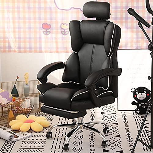 Bureaustoel Met Voetensteun + Draaibare Hoofdsteun, Gamingstoel, Live Chair, PU-leer 360 ° Draaibare Bureaustoel, in Hoogte Verstelbare Verstelbare Stoel Met Hoge Rugleuning,zwart