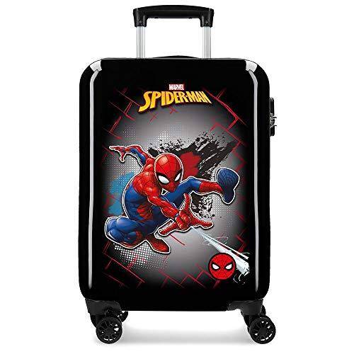 Marvel Spiderman Red Maleta de Cabina Negro 38x55x20 cms Rígida ABS Cierre combinación 34L 2,6Kgs 4 Ruedas Dobles Equipaje de Mano