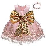 NNJXD Niña Pequeña Vestidos De Flores Tutu Fiesta del Desfile Inclinarse Vestido de Boda Tamaño (90) 12-24 Meses 755 Rosa-A