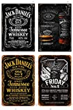 Cimily 4 PCS Jack Daniels Whiskey Zinn Retro Zeichen