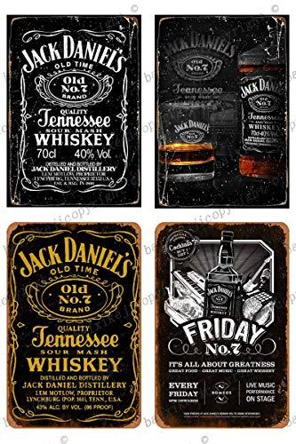 Cimily 4 PCS Jack Daniels Whiskey Zinn Retro Zeichen Vintage Poster Plakette Wanddekoration für Bar Cafe Garten Schlafzimmer Büro Hotel 20X30 cm