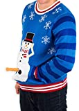 Festified Men's Excited Snowman Ugly Funny Christmas Sweater in Blue (5X-Large)