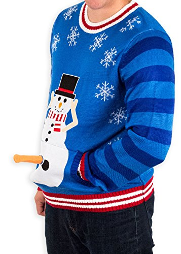 Men's Excited Snowman Ugly Funny Christmas Sweater in Blue By Festified (X-Large)