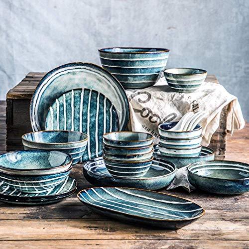 AYHa Conjuntos de gres Vajillas (36 Piezas) Vajilla personalizado exquisito plato verde chino vajilla de cerámica