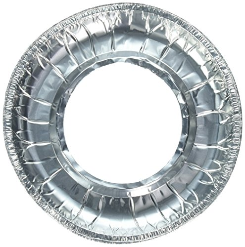 Party Bargains Sq Round Disposable Aluminum Foil Gas Stove Protector Burner Bib Liners Cover-9 Inch | Pack of 50, Silver