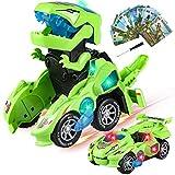 Yojoloin Dinosaurier Transformers Spielzeug Mit Led Licht Und Soundfunktion, Transformator Dinosaurier Spielzeug Auto Mädchen Und Jungen