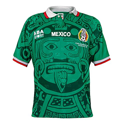 ABA Sport Mexico Authentic 1998 World Cup Soccer Jersey, Green, Large