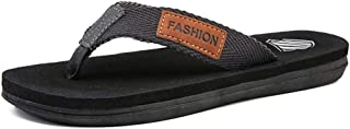 Fashion Slippers for Men Flip-Flops Casual Slip On Mesh Material Simple Casual Stitching Soft Slippers Men's Boots (Color : Black, Size : 6.5 UK)