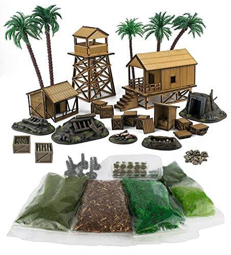 War World Gaming Jungle Warfare - Campamento Militar Completo en DM - Resina y Materiales Base - 28mm Pacífico Wargaming Modelismo Contienda Militar Diorama Maqueta Wargame Miniaturas