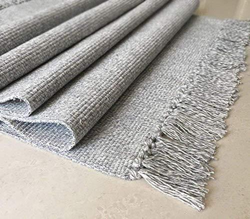 Alfombra multiusos antideslizante para cocina, salón, dormitorio, alfombra tejida a mano, 100 % algodón, incluye base antideslizante, algodón, Gris, 60*90cm