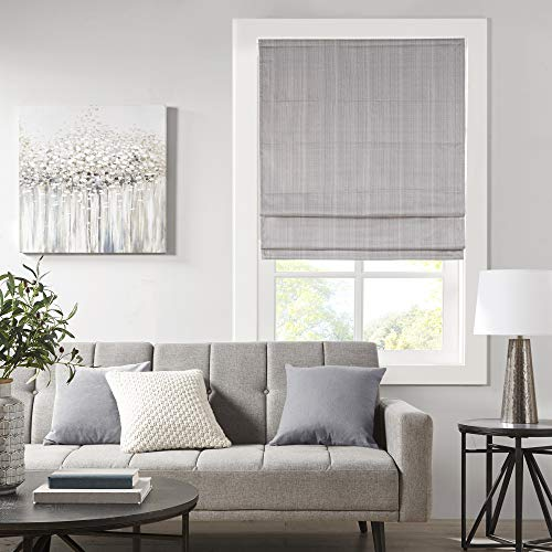 """Madison Park Galen Cordless Roman Shades - Fabric Privacy Panel Darkening, Energy Efficient, Thermal Insulated Window Blind Treatment, for Bedroom, Living Room Decor, 31"""" x 64"""", Grey"""