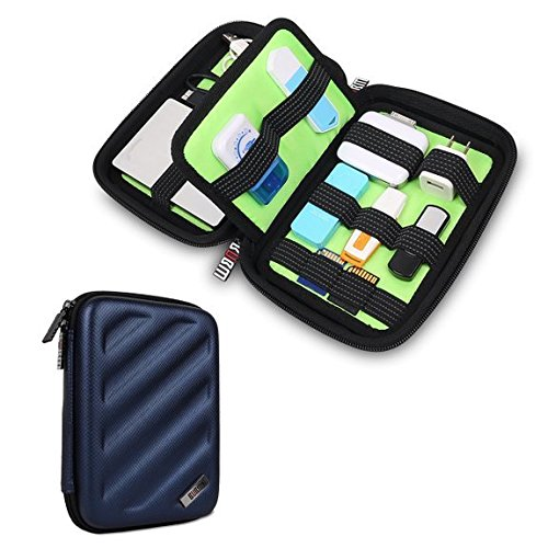 BUBM Portable EVA Hard Drive Case Travel Organizer for Electronics (Blue Medium)