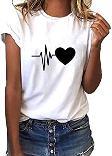 Simayixx Women Blouses and Tops Plus Size Fashion Valentine's Day Short Tee Shirts Teen Girls Print Pullover