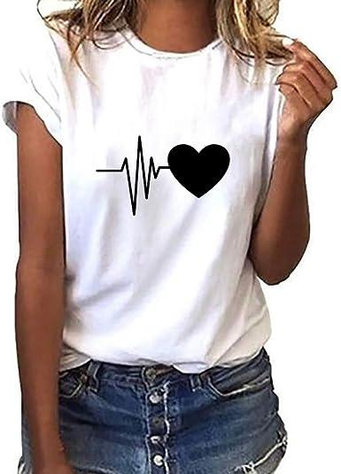 Camiseta de Mujer Manga Corta Corazón Impresión Blusa Camisa Cuello Redondo Basica Camiseta Suelto Verano Tops Casual Fiesta T-Shirt Original tee ...