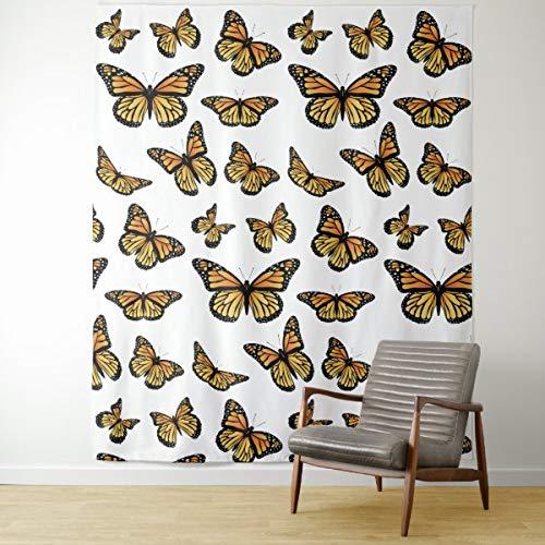 Tapiz de mariposa monarca naranja para colgar en la pared, tapiz psicodélico, decoración de dormitorio, sala de estar, dormitorio 149 x 200 cm