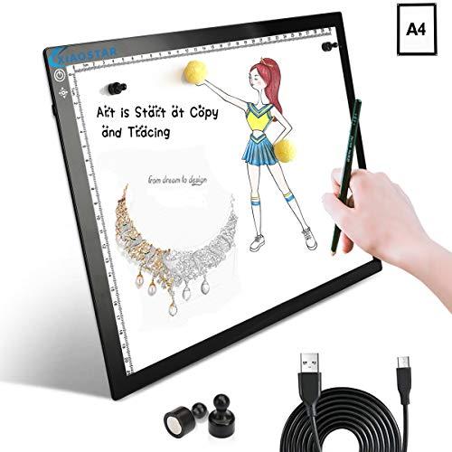 A4 LED-Kopiertafel, superdünn, Lichtbox, Zeichentafel, USB-Kabel mit Helligkeit, verstellbar, für Künstler, Animation, Skizzieren, Animation, Röntgenbetrachtung A4 (mit Magnet)
