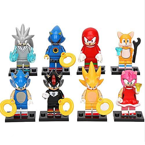 Yzoncd 8Pcs / Set Sonic Figure Building Blocks Juguetes, Super Sonic Figure Knuckles Shadow Tails Silver Kids Toys