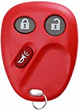 KeylessOption Replacement 3 Button Keyless Entry Remote Control Key Fob -Red