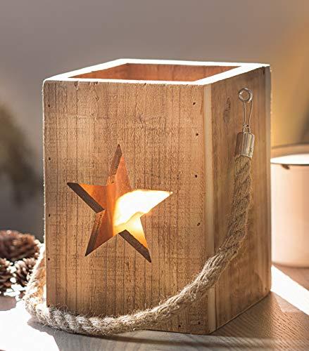 """Upcycling Windlicht """"Shabby-Charme"""" mit Sternen, Laterne aus Holz mit Glas, 19 cm hoch, Deko Glaswindlicht Teelicht Säule mit Stabiler Hanfkordel"""