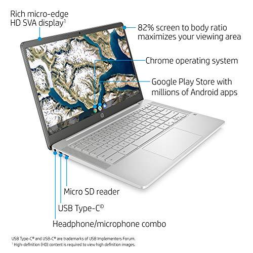 Product Image 1: HP Chromebook 14-inch HD Laptop, Intel Celeron N4000, 4 GB RAM, 32 GB eMMC, Chrome (14a-na0020nr, Ceramic White)