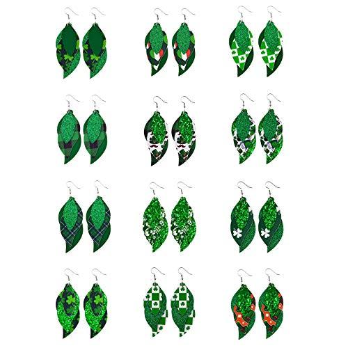 Moent 12 pendientes para el día de San Patricio, celebraciones irlandesas, trébol verde de cuatro hojas con forma de gota de la suerte, para mujer, regalos festivales.
