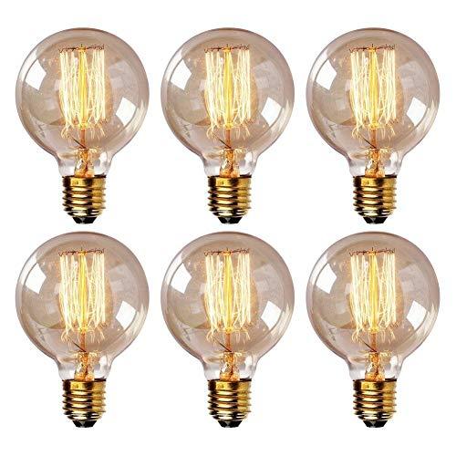 Onepre Pack of 6 Vintage Edison Bulb 40W E27 Screw Retro Filament Light Bulb Dimmable Spiral G80 Globe Style Decorative Edison Light Bulb Warm White