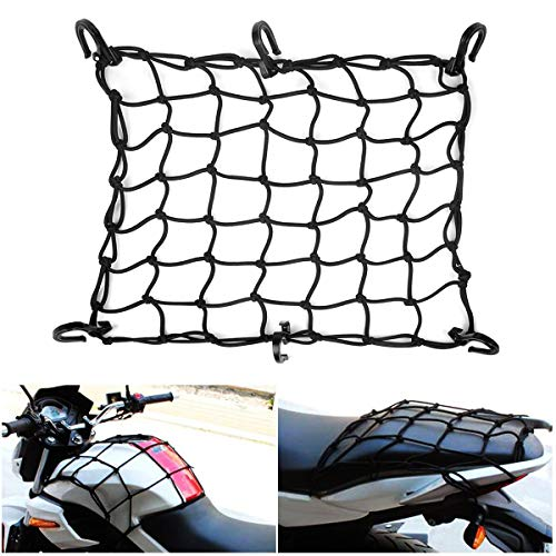JCHL 15quotx15quot Motorcycle Cargo Net Stretches to 30quotx30quot with 6 Hooks 2#039#039x2#039#039 Mesh for Motorcycle Motorbike Bikes