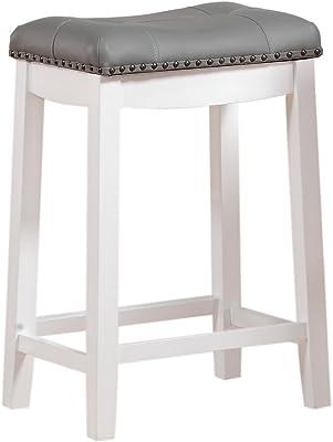 Amazon Com Angel Line Cambridge Bar Stools 24 Set Of 1 White With Gray Cushion Furniture Decor