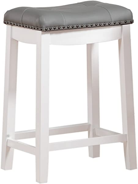 Angel Line 42418 21 Cambridge Bar Stools 24 Set Of 1 White With Gray Cushion