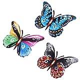 Cabilock 3 Piezas 3D Mariposa Decoración de La Pared Jardín Patio Arte Decoración Mariposa Estatuilla Animal Colgante de Metal Esculturas de Pared Decoraciones Adorno de Jardín para