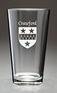 Crawford Irish Coat of Arms Pint Glasses - Set of 4 (Sand Etched)