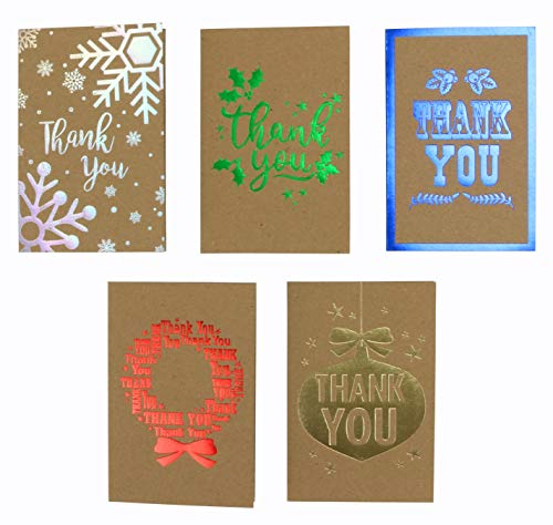 Iconikal Kraft Christmas 'Thank You' Cards with Envelopes, Foil Embellished, 35-Count