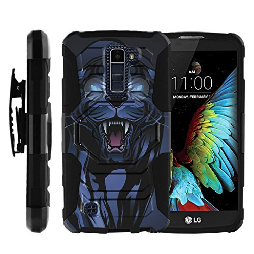TurtleArmor | Compatible with LG K10 Case | LG Premier Case [Octo Guard] Dual Layer Silicone Hybrid Impact Armor Hard Belt Clip Holster Durable Kickstand Case Animal - Fierce Panther